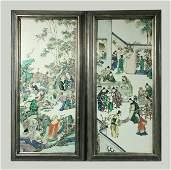 Pr Chinese 19 C Famille Verte Porcelain Lg Plaques
