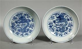 Pr Chinese 19 C Daoguang Blue White Dragon Plates