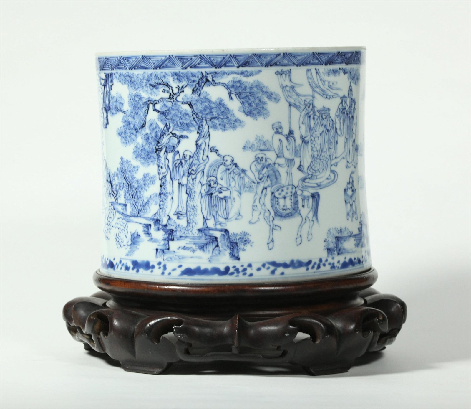 Chinese Qing Blue & White Porcelain Brush Pot