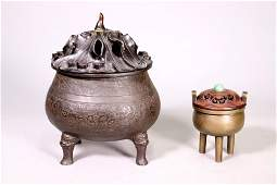 2 Chinese Ming / Early Qing Bronze Incense Burners