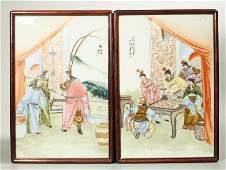 Zhang Zhenqi; Famille Rose Porcelain Plaques