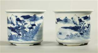 Pair Chinese Blue & White Porcelain Small Planters