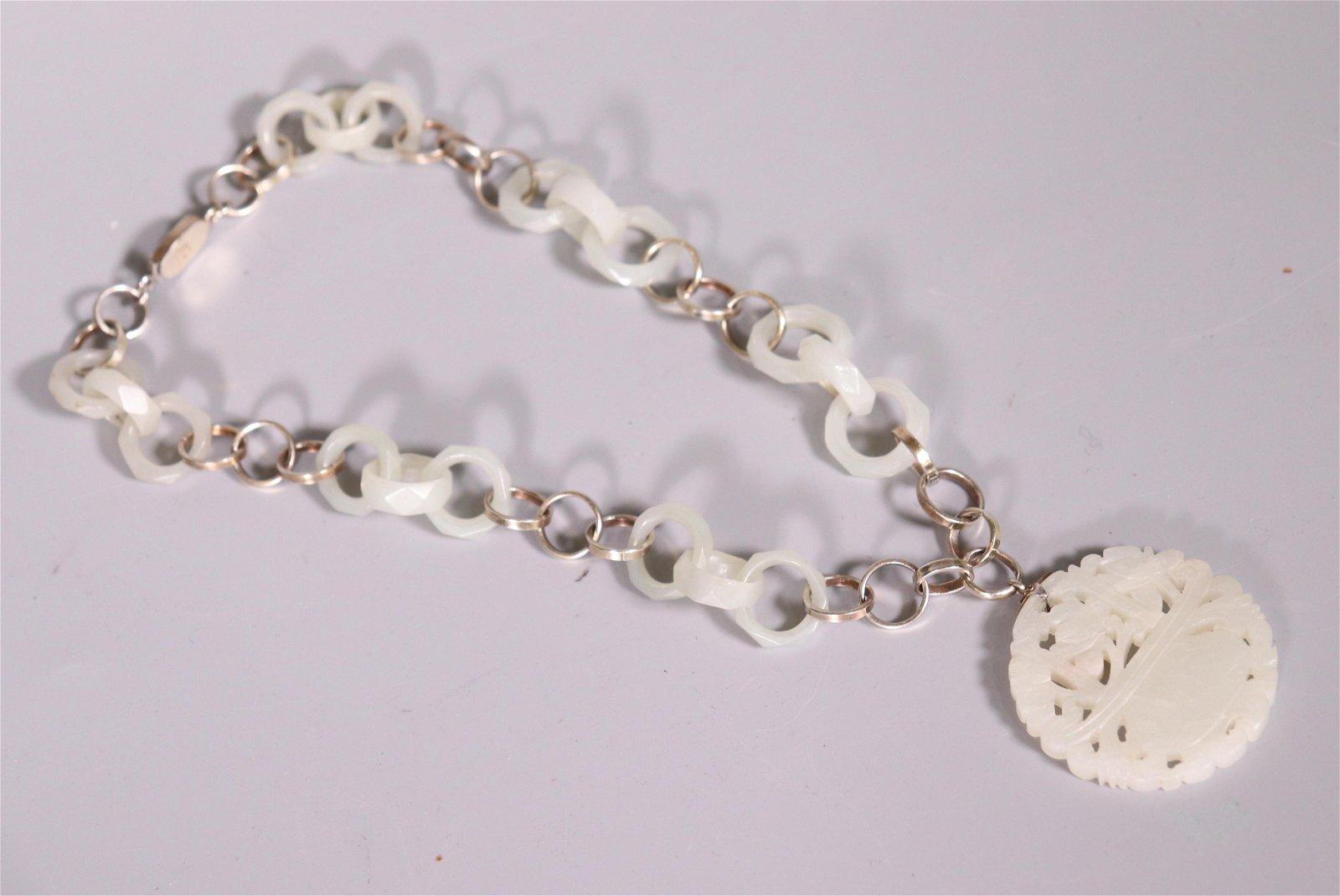 Chinese Qing White Jade Pendant & 6 Triple Rings