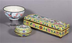 3 Chinese Qing Canton Enamels on Bronze