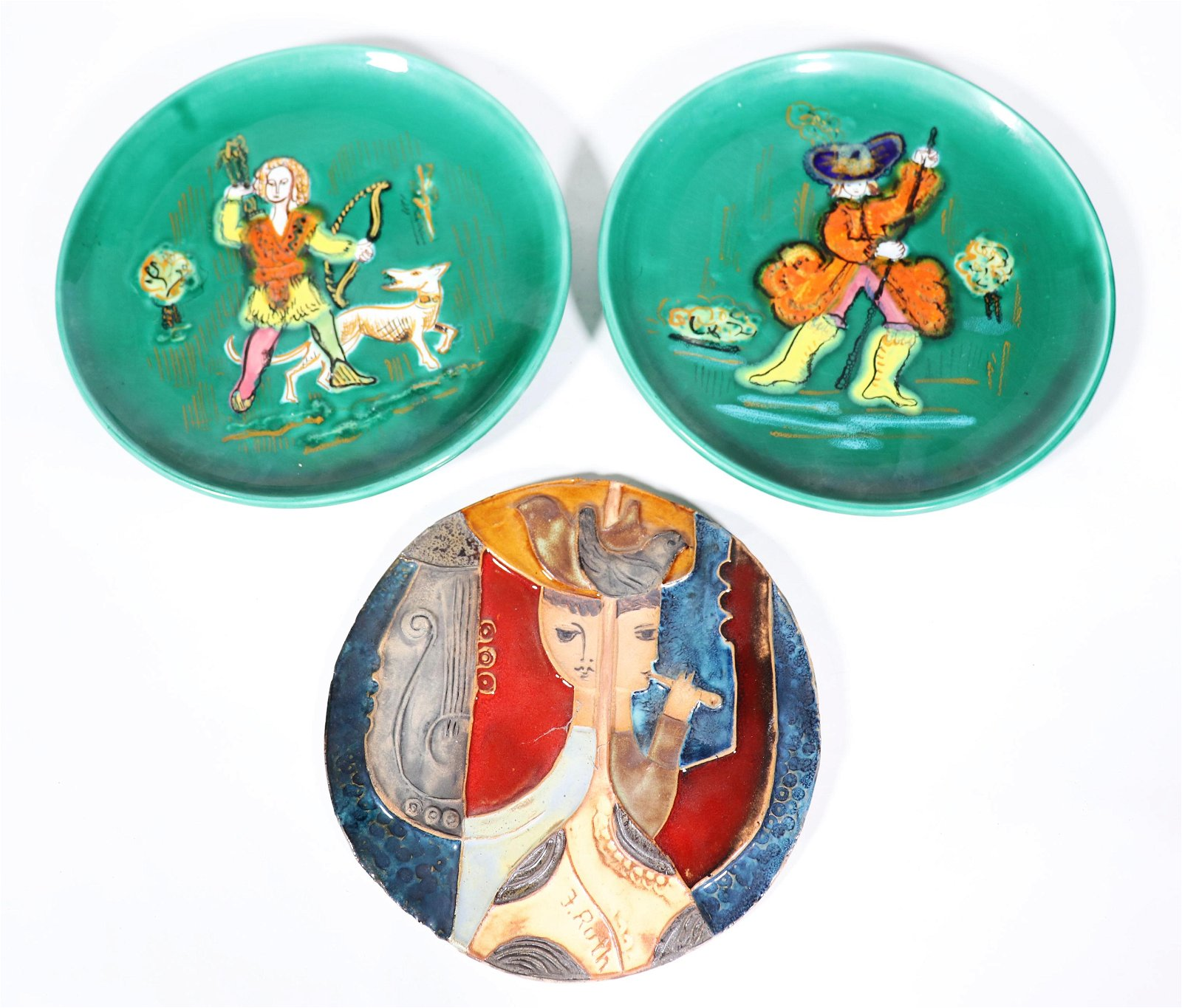Pair Vallauris Ceramic Plates & Terra Cotta Plaque