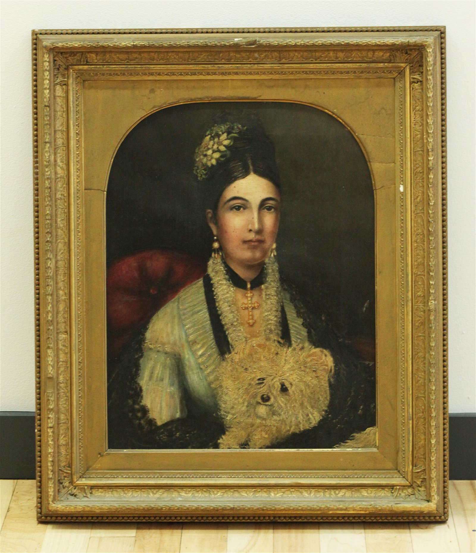 Victorian Lady with Dog; Oil Portrait