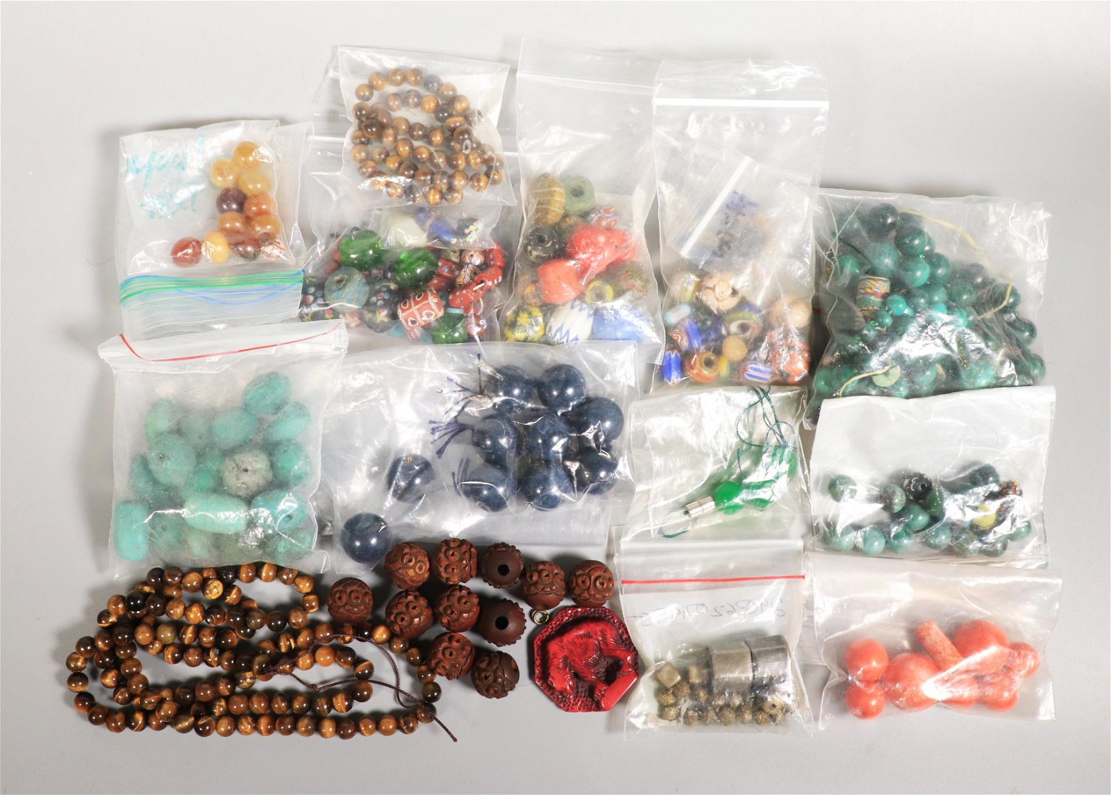 12+ Bags Antique Beads: Coral, Glass, Hard Stones