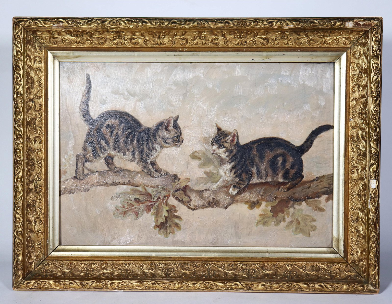 Two Cats on Branch; 19 C Oil on Academy Board