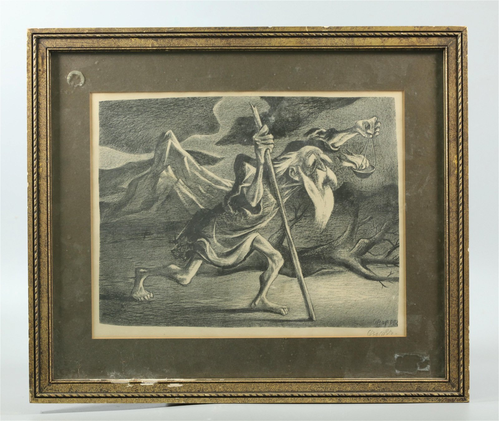 William Gropper; Signed Lithograph, Diogenes