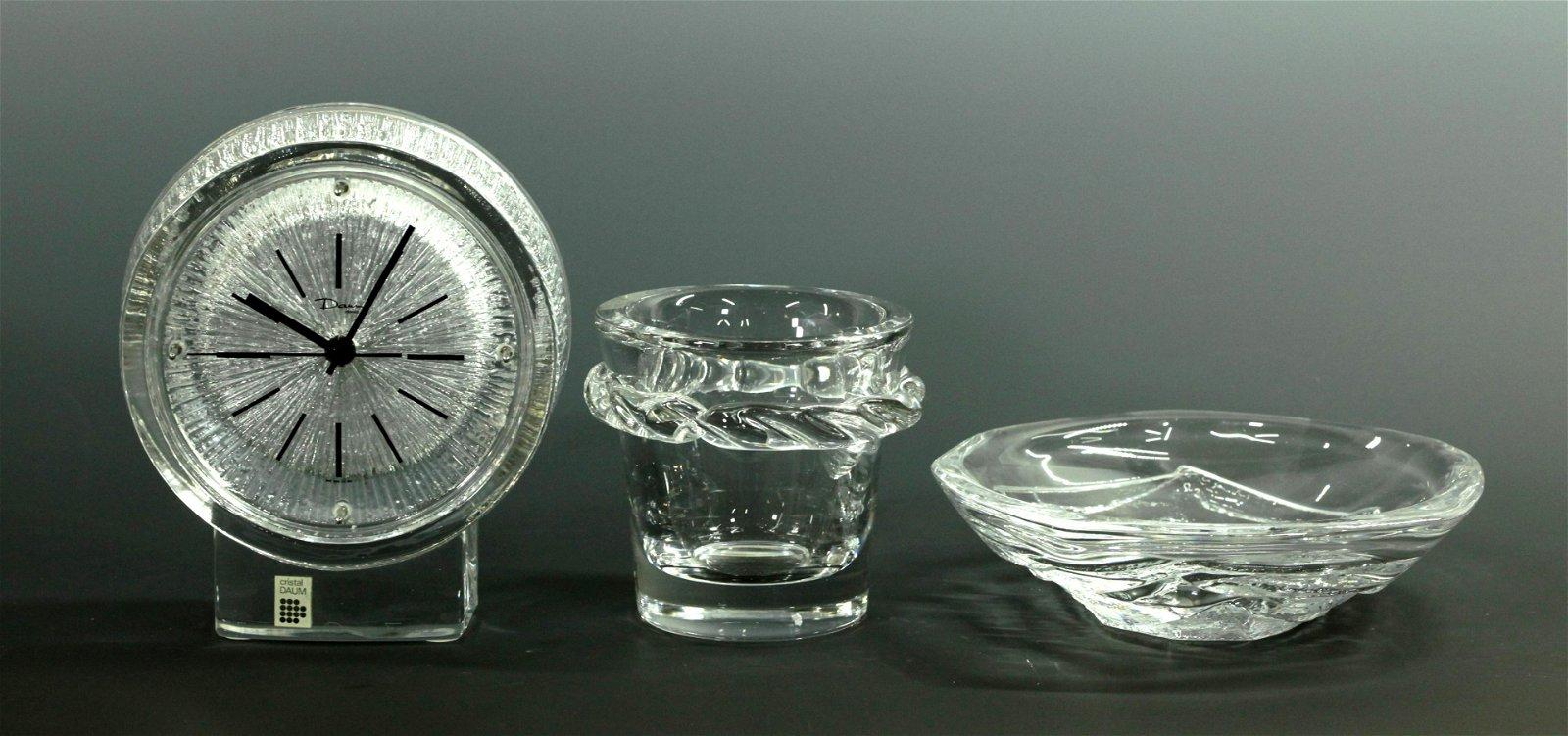 3 Daum Vintage Crystal Glass Thor-Clock Bowl Vase