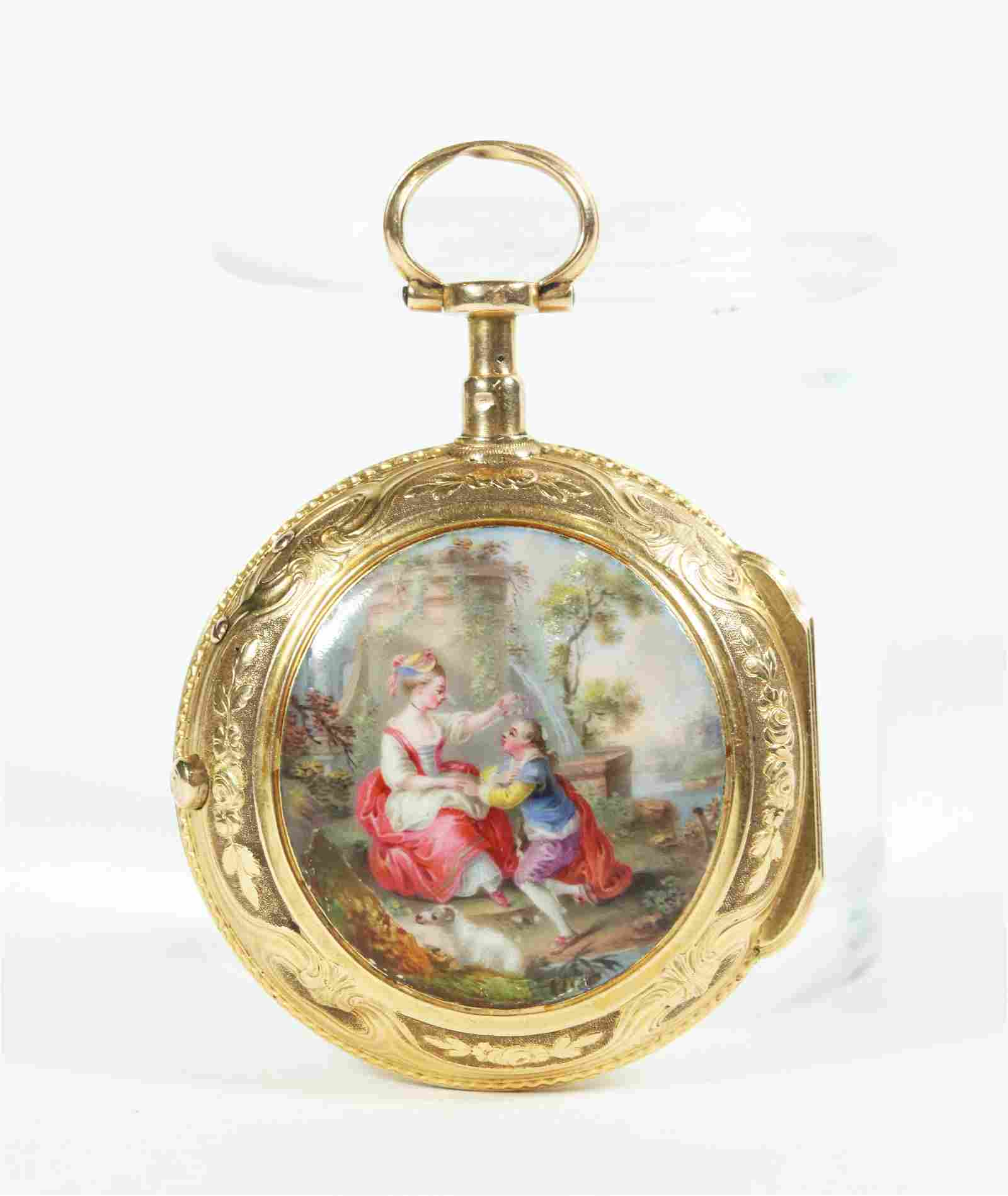 Rey 18 Century Enameled 18K Gold Pocket Watch