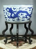 Rare Chinese Ming Blue & White Dragon Fishbowl