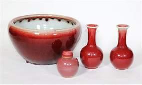 Chinese 19 C Langyao Porcelain Censer Pr Vases Jar