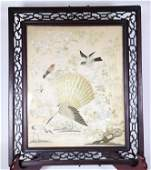 Chinese Qing White Silk Embroidered Bird Panel