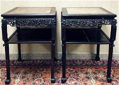 Pair Chinese Qing Black Hard Wood Side Tables