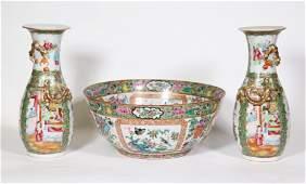 3 Chinese 19 C Enameled Porcelains 2 Vases Bowl