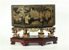 Chinese 19 C Red Black Gold Lacquer Box on Stand
