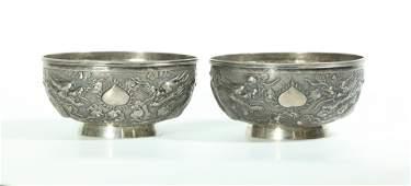Pr Chinese Silver Dragon Bowls Mark WA; 312.7G