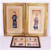 Chinese 19 C Pith Paintings, Mandarins & Tea