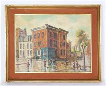 Oil Canvas Board Manhattan Greenwich Village View