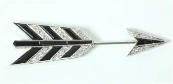 French Art Deco Onyx  Diamond 18 K Arrow Pin