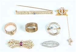 Group 7 Edwardian Gold Pins  Rings