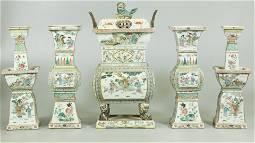 Rare Chinese 19 C 5 Piece Altar Garniture Set
