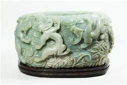 Lg Chinese Pale Celadon Jade 9 Dragon Brush Washer