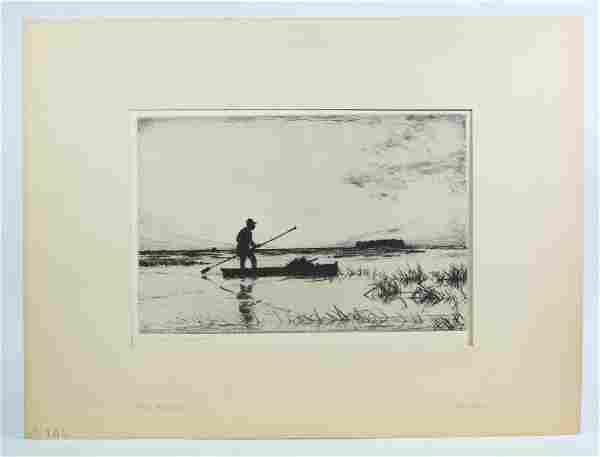 "Frank W Benson; ""The Punter"" Etching 1927"