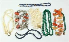7 Chinese Gemstone Bead Necklaces