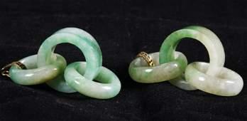 Pair Chinese Qing Dynasty 3Ring Jadeite Earrings