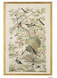 Christie's Chinese 19 C 100 Birds Embroidery Panel