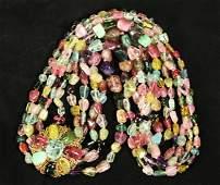 Vintage Tourmaline Bead Necklace 14K Brooch Clip