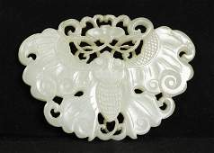 Chinese Qing White Jade Butterfly Pendant