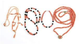 3 Antique Faceted Coral Bead Necklaces  Bracelet