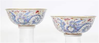 Pair Chinese Qing Flying Dragon Porcelain Bowls