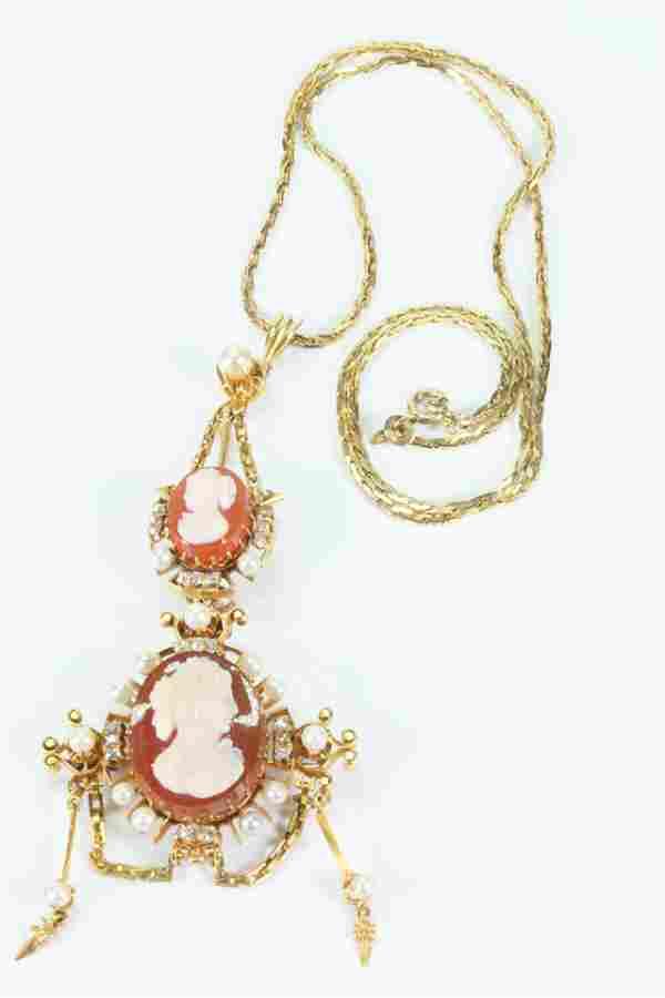 19 C Agate Cameo Pearl Old Mine Diamond Pendant