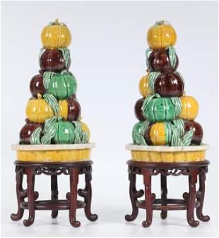 Pair Chinese Qing Sancai Porcelain Altar Fruit
