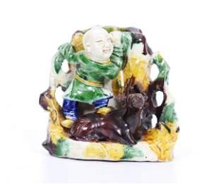 Chinese Kangxi Sancai Porcelain Boy Buffalo Pot