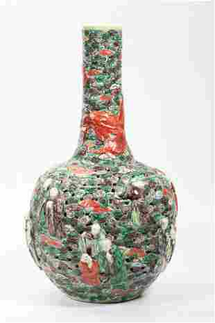 Chinese 19 Century Pierced Porcelain 18 Lohan Vase