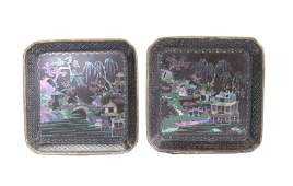 Pair Chinese Kangxi Period Shell  Lacquer Trays
