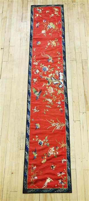 Chinese Qing Horizontal Silk Bird Embroidery