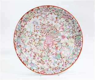 Chinese Mille Fleur Coral Ground Porcelain Charger