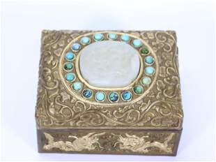 Chinese 18/19 C White Jade Plaque in Dragon Box