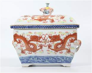 Chinese Qing Enameled Porcelain 3-Part Heating Pot