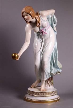 Meissen Porcelain Girl Playing Bowls W. Schott
