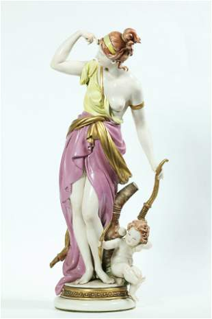 Capodimonte Porcelain G Cappe 1962 Diana Cupid