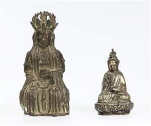 Chinese Ming Bronze Xiwangmu; Tibetan Seated Lama