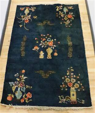 Vintage Chinese Art Deco Blue Silk Rug with Fringe