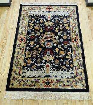 Chinese Dark Blue 9 Dragon Carpet
